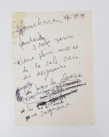 GAINSBOURG (Serge). Seigneur et Saigneur. [c. 1988]. Manuscrit au...