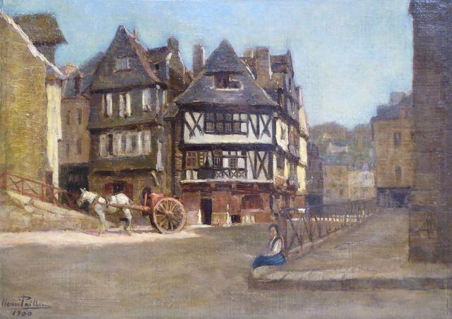 HENRI PAILLER (1876-1954) Place du marché à Morlaix, 1900 Huile s...