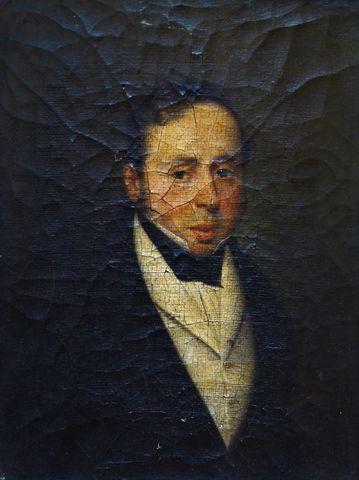 Ecole FRANCAISE XIXème siècle Portrait d'homme Huile sur toile 22...