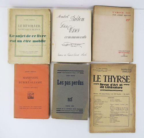 BRETON (André). Ensemble de 6 ouvrages :  - Manifeste du Surréali...
