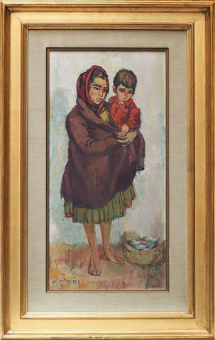 Paul GIROL (1911-1989) Anna Maria et Manuel Huile sur toile signé...
