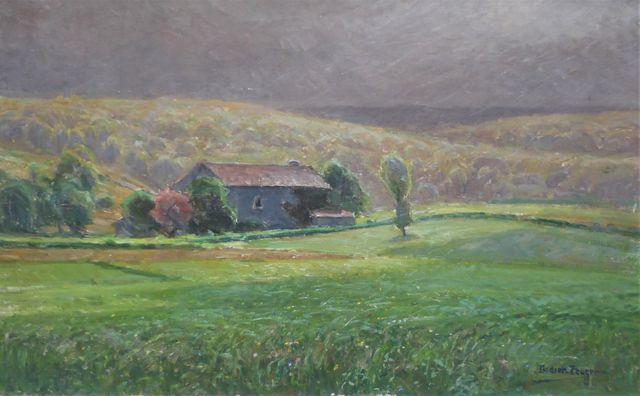 William DIDIER-POUGET (1864-1959) Paysage vallonné Huile sur toil...