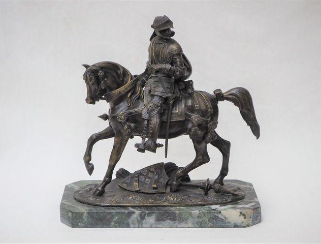 Cavalier Bronze sur socle marbre H. 26 cm  L. 24 cm