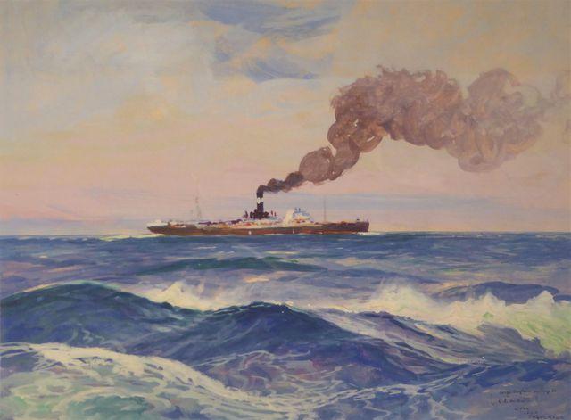 Jean-Louis PAGUENAUD (1876-1952) Cargo anglais au large de l'île ...
