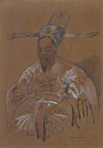 Jean-Louis PAGUENAUD (1876-1952) Portrait d'homme asiatique Encre...