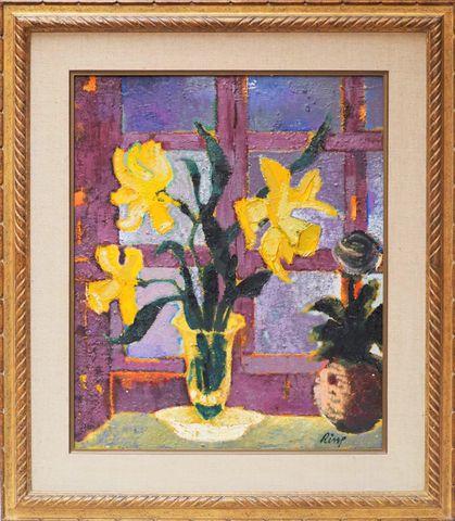 Ernest RISSE (1921-2003) Narcisses le soir Huile sur toile signée...