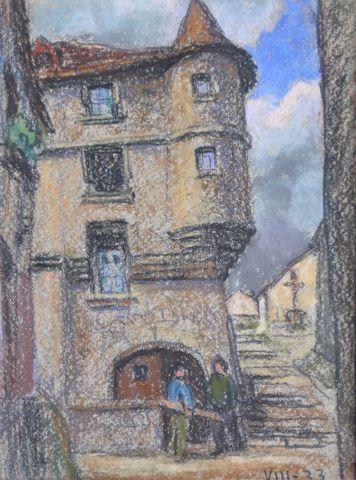 Léon JOUHAUD (1874-1950)  Aubusson 1933  Pastel sur papier  15,5 ...