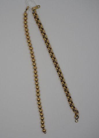 Deux bracelets or jaune Pds 18 grs