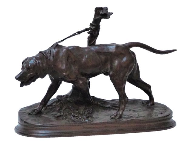 Pierre-Jules MÈNE (1810-1879) Limier à l'attache Épreuve en bronz...