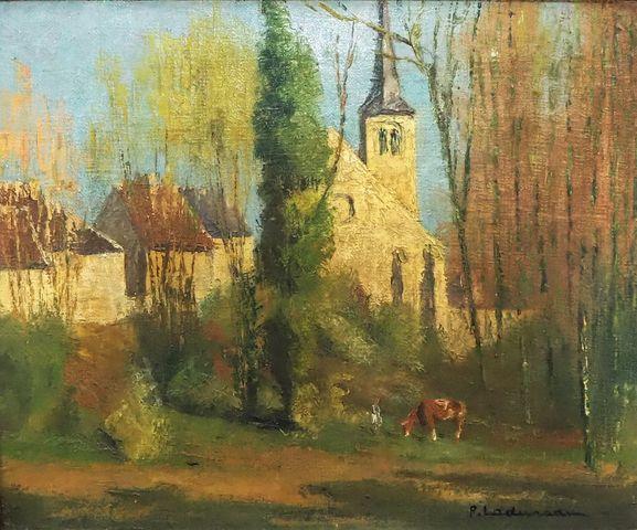 Pierre LADUREAU (1882-1875) Vue de village animé Huile sur toile ...