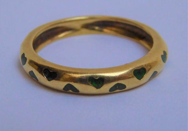 Bague or sertie pierre couleur vert Pds 3 grs