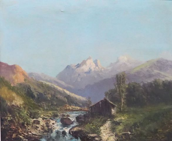 GODCHAUX (XIXe-XXe) Paysage de montagne Huile sur toile signée en...