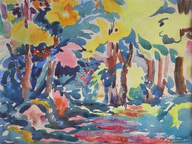 Jean-Marie EUZET (1905-1980)  Sous-bois  Aquarelle sur papier sig...