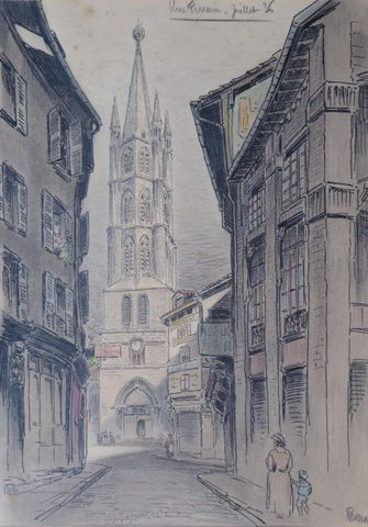 Marcel BESSAN (1887-1961) Rue Ferrerie à Limoges, Juillet 1936 De...