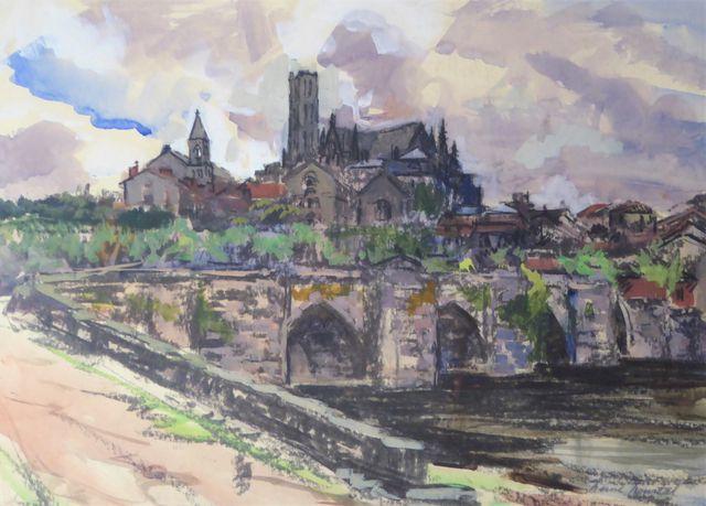 Henri HOURTAL (1877-1944) Le Pont Saint-Etienne et la Cathédrale ...
