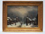 Louis-Claude MALBRANCHE (1790-1838) Paysage animé enneigé et port...